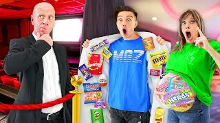 12 Ways To SNEAK Candy Into The Movies & Last To Get Caught Wins - Challenge
