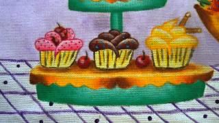 Angela Almeida - Artista Plástica - Pintura em tecido - Pano de copas - Bolo e Doces.