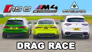 BMW M4 v Audi RS6 v Alfa Stelvio QV: DRAG RACE
