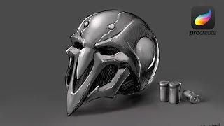 iPad pro sketching - 鬥陣特攻Overwatch Reaper Mask  (apple pencil)(Procreate)