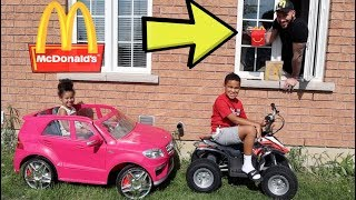 McDonald's Drive Thru Prank on Power Wheels, Kids Pretend Play | FamousTubeKIDS