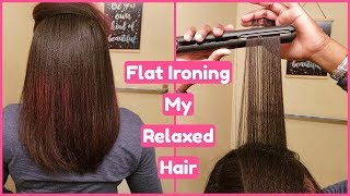 Flat Ironing My Hair Start To Finish [Relaxed Colored Hair]