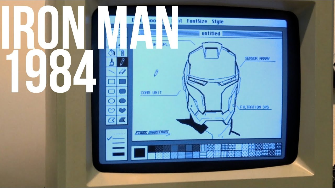 What If Tony Stark Designed His Iron Man Suit In MacPaint?