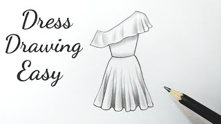 How To Draw A Beautiful Girl Dress Drawing Design Easy Fashion Illustration Dresses Drawing