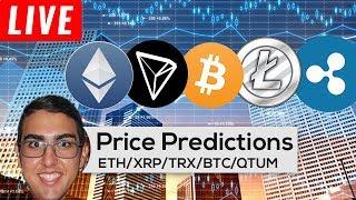 Price Predictions: Ethereum ($ETH), Ripple ($XRP), Tron ($TRX), Bitcoin ($BTC), Qtum (#QTUM), & More