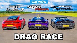 [carwow] Porsche 911 Turbo S vs Ferrari 488 Pista vs Lamborghini Huracán Performante - DRAG RACE