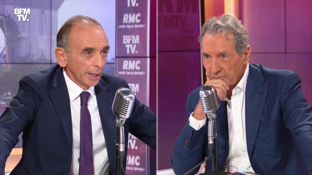 Eric Zemmour face à Jean-Jacques Bourdin en direct