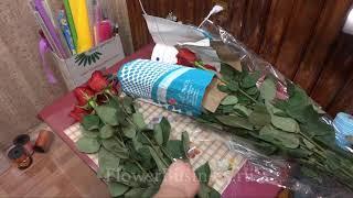 Букет из роз готовим пачку роз на витрину