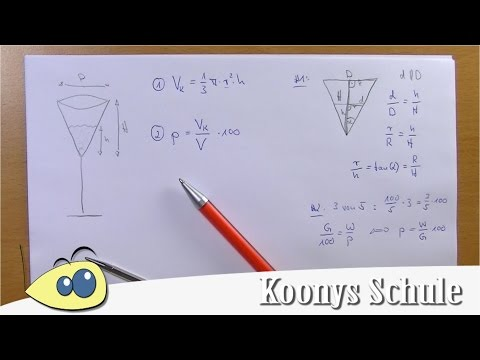 Zu wie viel Prozent ist das Sektglas gefüllt? | 2 Probleme erklärt, Kegel, Volumen, Körper, Mathe