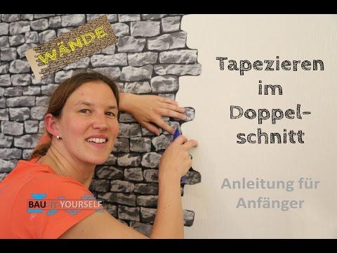 Tapezieren Doppelschnitt Wandgestaltung Wand Wände Doppelnahtschnitt Steintapete Vlies Tapete selbst