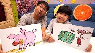 Bé Bún Tô Màu Bánh Chưng Hoa Đào – Bố Bé Bún Tô Màu Con Lợn   Coloring Pig