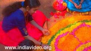 Pookalam-floral decorations with flowers