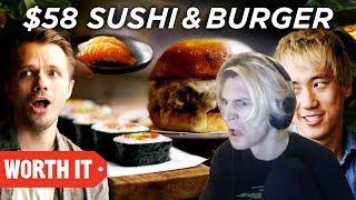 xQc Reacts to $10 Sushi & Burger Vs. $58 Sushi & Burger