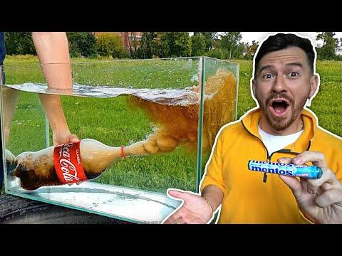 EXPERIMENT: COCA COLA AND MENTOS UNDER WATER - Challenge