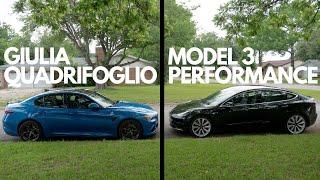 Model 3 Performance VS Giulia Quadrifoglio   Which Is The Better EVERYDAY Performance Sedan?