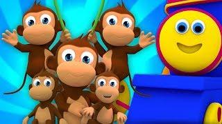 ห้าลิงน้อย | บ๊องในภาษาไทย | บทกวีของเด็ก | Five Little Monkeys | Bob The Train
