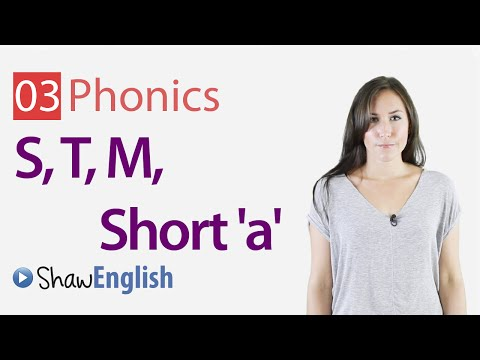 English Phonics Consonants 's', 't', 'm' and Short 'a' Vowel Sound
