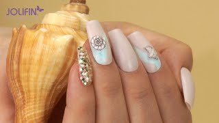 "Nailart: ""Sandbank"" Mit Jolifin LAVENI 3D Tattoo - Nr. 31 Und Jolifin Color-Ink - Mint"