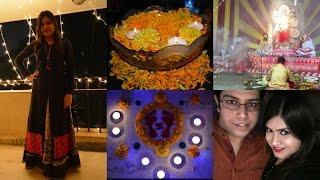 Diwali decoration at home | Lights Diyas Rangoli for diwali | Kali puja CR park