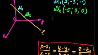 §51 Уравнение прямой в пространстве, проходящей через две точки