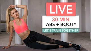 "LIVE WORKOUT - Let's kill a 30min Abs + Booty Session together! / Werbung   Starting with my ""2in1 Workout"" and finishing with the ""10min Ab Workout"". No Squats and no jumps included - but don't worry, that doesn't mean this session is less intense!  You can also find those workouts separately on my Channel, if you prefer the ""non talking"" Version haha. By the way: this is DAY 6, Week 2 of my free Home Workout Schedules (you can find them on my Instagram).   This Live Session involves talking, tips to make the exercises extra effective and my brother Dennis as a motivator behind the camera. I'm also stuck at home, so we are going to be in our living room again :)   __  No Equipment necessary and not much space needed! If you don't have a yoga mat, grab a soft towel!   ▸ You can find free WORKOUT SCHEDULES on my Instagram Channel. I saved them in my highlights. ➞ Instagram http://www.instagram.com/pamela_rf/  __  Music by Epidemic Sound  http://www.epidemicsound.com  __  ➞ Instagram http://www.instagram.com/pamela_rf/ ➞ Food Account http://www.instagram.com/pamgoesnuts/"