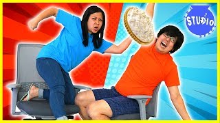 Mommy vs Daddy Office Chair Race with Loser gets Pie in the face!