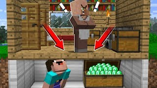 WHY NOOB STOLE EMERALDS FROM VILLAGER? in Minecraft Noob vs Pro