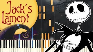[PIANO TUTORIAL] Jack's Lament - Tim Burton's The Nightmare Before Christmas (Easy Piano, Synthesia)