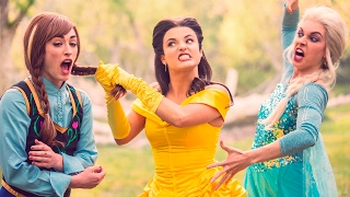 BEAUTY AND THE BEAST vs FROZEN DANCE BATTLE - DISNEY PRINCESSES COLLIDE! // ScottDW