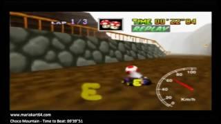 """Mario Kart 64 - Time Trials - Choco Mountain Flap 00'39""""41 King D Rank [N64 PAL]"""
