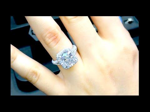 4 carat Cushion Cut Diamond Engagement Ring in Double Edge Halo