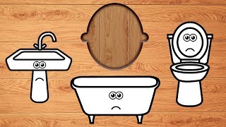 Wrong Wooden Slots with Crying Bathroom Items - Coloring for Kids