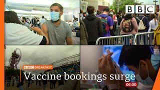 Covid: Queues at pop-up vaccine centres amid jabs push @BBC News live 🔴 BBC