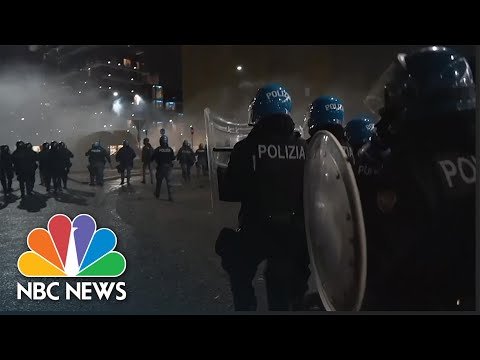 Italian Police Clash With Demonstrators Protesting Country's New Covid-19 Restrictions   NBC News