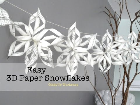 Download Easy 3D Origami Paper Snowflake Tutorial HD Video