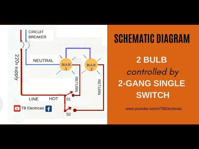 electrical tutorial 2 gang switch wiring actual and