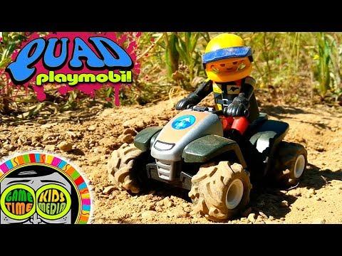 Motos para niños Juguetes Playmobil en animación Stop Motion. Quad Playmobil Motocross.