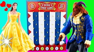 Beauty and The Beast Movie Disk Drop Game! Belle, Beast, Lumiere & Gaston Learn Colors!