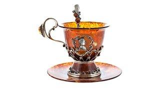"""Чашка чайная из янтаря """"Екатерина"""" vip подарок от"""