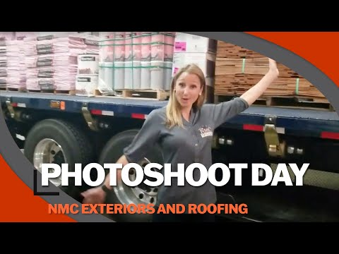 Owners Nick and Molly Mortenson gathered the whole NMC Exteriors team, for a fun photo shoot at ABC Supply in Minneapolis, MN.