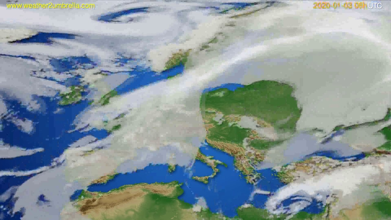 Cloud forecast Europe // modelrun: 12h UTC 2020-01-02
