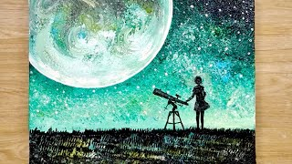Easy painting technique using comb / How to draw a moonlight girl looking at earth