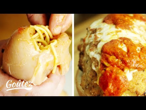 Spaghetti Stuffed Chicken Parmesan Sandwich