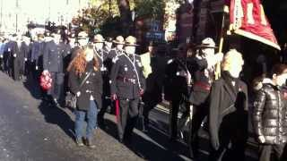 preview picture of video 'Cadet drummers lead the procession towards East Ham Centoaph'