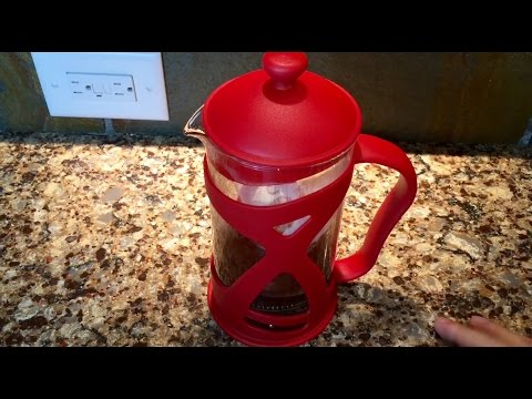 Red French Press Coffee Maker (4 Cup) by Sunlit - Brews Coffee, Iced Coffee and Loose Leaf Tea