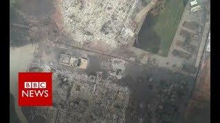 California wildfires: Drone footage shows Paradise devastation - BBC News