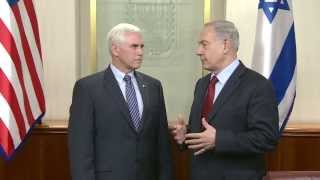 Israeli Prime Minister Benjamin Netanyahu Meets Indiana Governor Mike Pence
