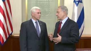 Israeli Prime Minister Benjamin Netanyahu Meets Indiana Governor Mike Pence