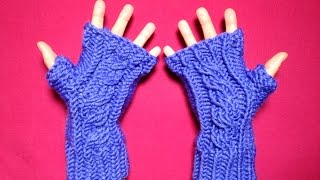 How To Loom Knit Cabled Fingerless Mittens (DIY Tutorial)