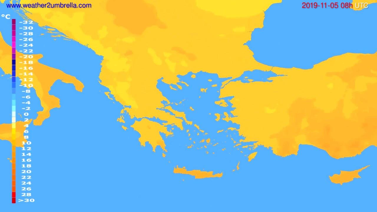 Temperature forecast Greece // modelrun: 00h UTC 2019-11-04